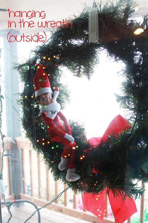 Elf outside wreath